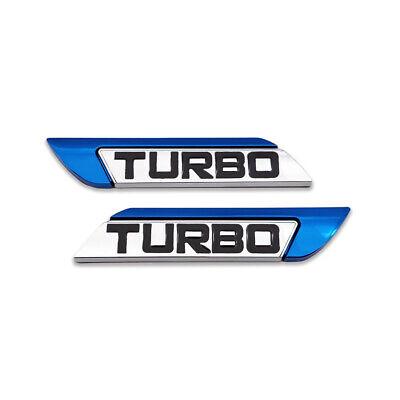 Pair Blue Metal TURBO Logo Emblem Side Fender Badge Racing Sport Sticker Decal