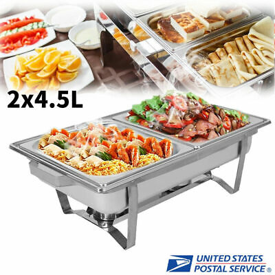 2 Slots Chafer Buffet Chafing Catering Dish 9l Stainless Steel Rectangular Pan