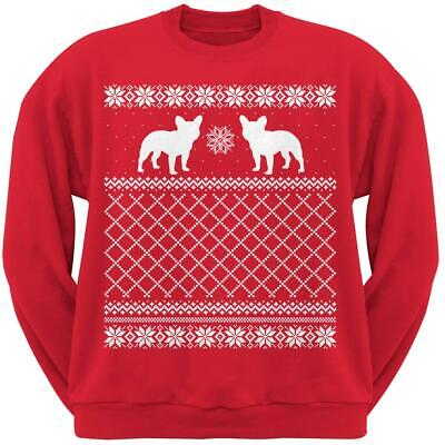 French Bulldog Red Adult Ugly Christmas Sweater Crew Neck Sweatshirt - French Bulldog Adult Sweatshirt