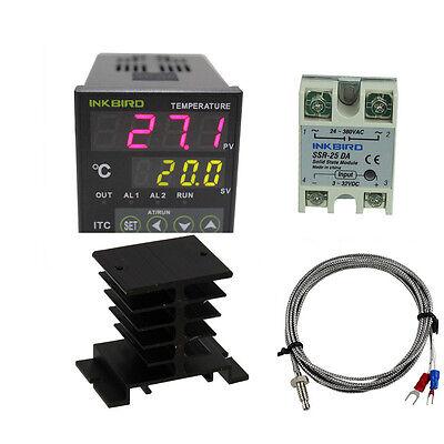 110v Digital Pid Temperature Controller Itc-100vh K Sensor 25da Ssr Heat Sink