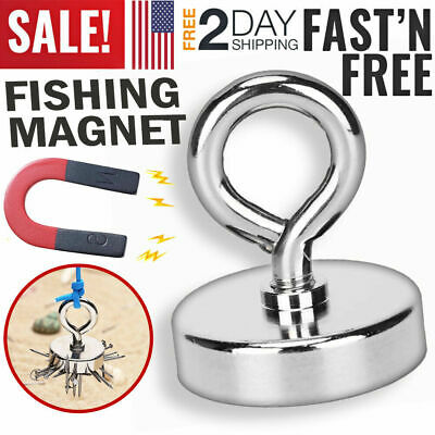 Fishing Magnet W Lifting Hook Super Strong Pull Force Retrieving Lake Treasure