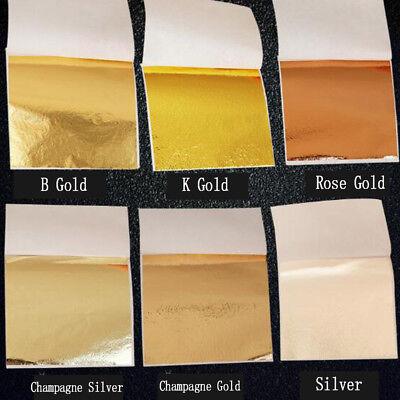 50/100sheets Imitation Gold Silver Copper Leaf Foil Paper Gilding Craft Sheets -