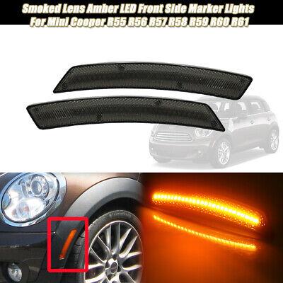 2X Front Bumper Amber LED Side Marker Lights For MINI Cooper R55 R56 R58 R60 R61 Amber Front Marker