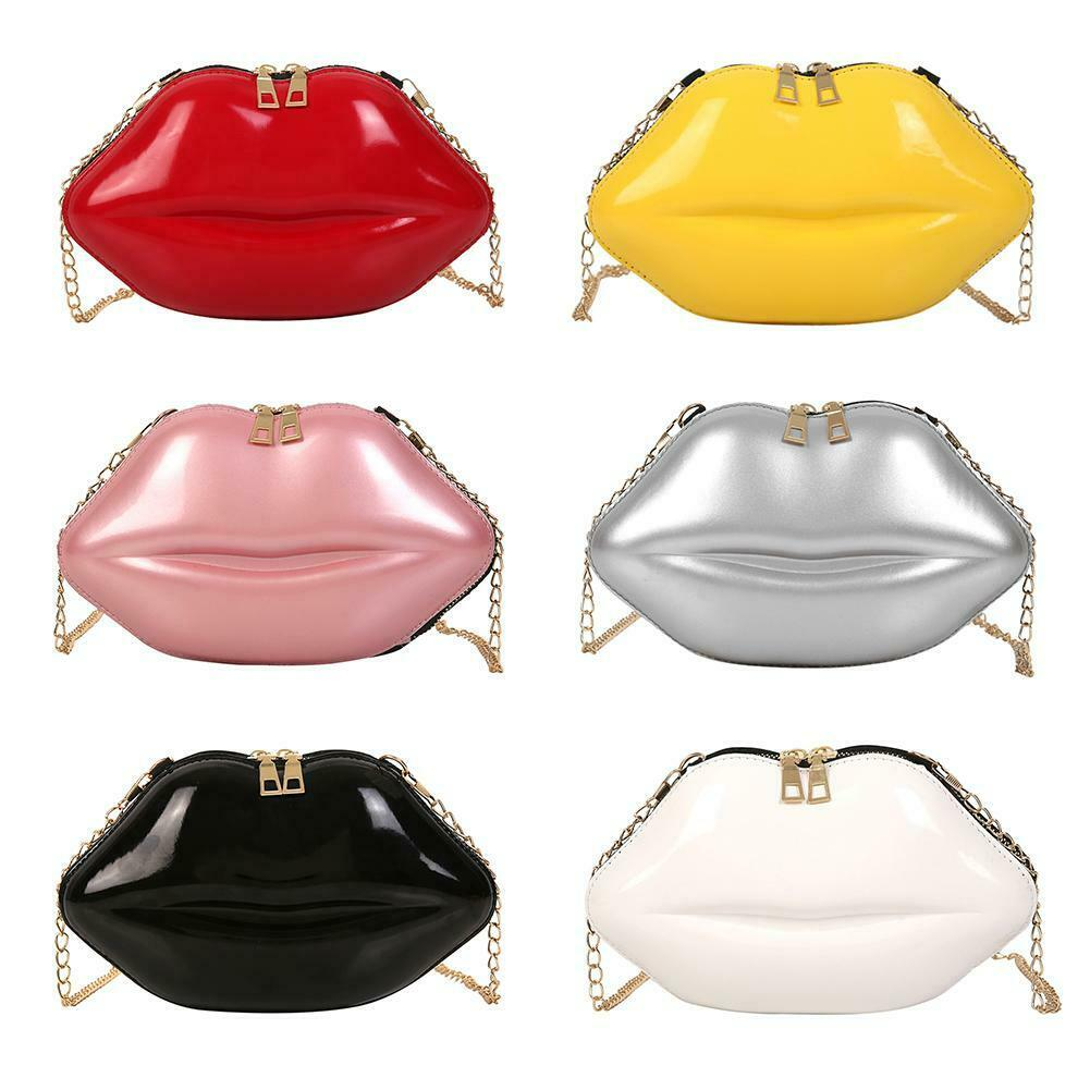 Lips Women PVC Handbags Chain Messenger Bags Shoulder Evenin
