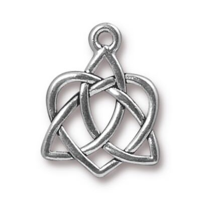 TierraCast Small Celtic Open Heart Drop, Antiqued Silver Plated Pewter (T128)