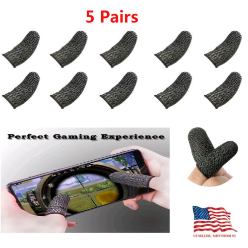 10-PACK Gaming Finger Sleeve Screen Game Controller Mobile Sweatproof Gloves US Controllers & Attachments