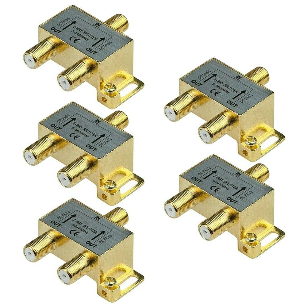 8-Way Coax//Coaxial Antenna RF Satellite Cable TV Signal Splitter DC Power Pass