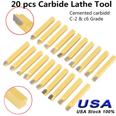 20pc 14 Carbide Tip Tipped Cutter Tool Bit Cutting Set For Metal Lathe Tooling