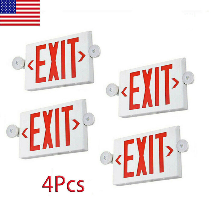 4PCS Emergency Light-Red LED Exit Sign - Dual Lamp ABS Fire Resistance UL-Listed