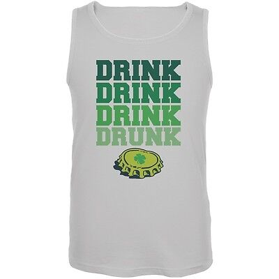 St. Patricks Day - Drink Drink Drunk White Adult Tank Top