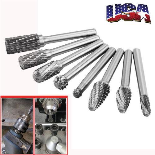 8 Pcs Tungsten Carbide Burrs Rotary Burr Set Head 1/4'' Shan