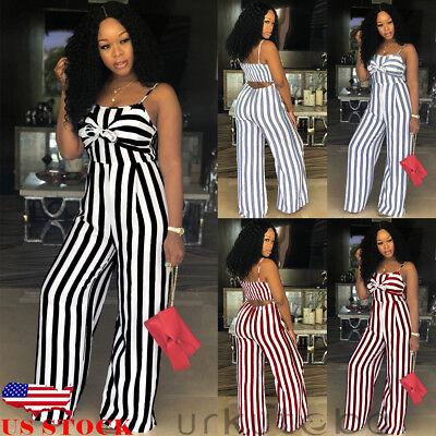 US Women Sleeveless Stripe Playsuit Ladies Summer Romper Long Jumpsuit Trousers