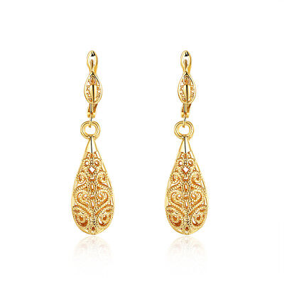 Cute 14K Yellow Gold Filled Teardrop Mini Leverback Hoop Dangle Earrings 14k Gold Mini Earrings