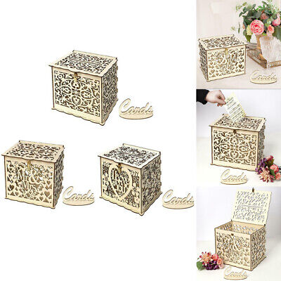 Wood Gifts Case Money Box Wedding Birthday Party Card Holder Storage Container ()