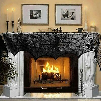 Halloween Fireplace Mantle Scarf Black Lace Home Party Decor Spiderweb Design