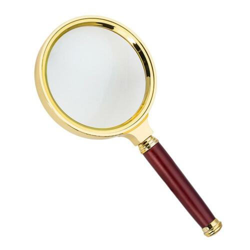 6 X Magnifier Magnifying Glass Loupe w/ 80mm Wood Handle for Reading Jewelry US