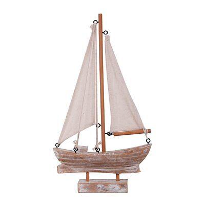 Wooden Sailboat Yacht Ship Model w/Flag Nautical - Decorative Nautical Flags