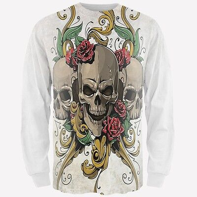 Skull And Roses Tattoo Sleeve (Skulls and Roses Tattoo All Over Adult Long Sleeve)