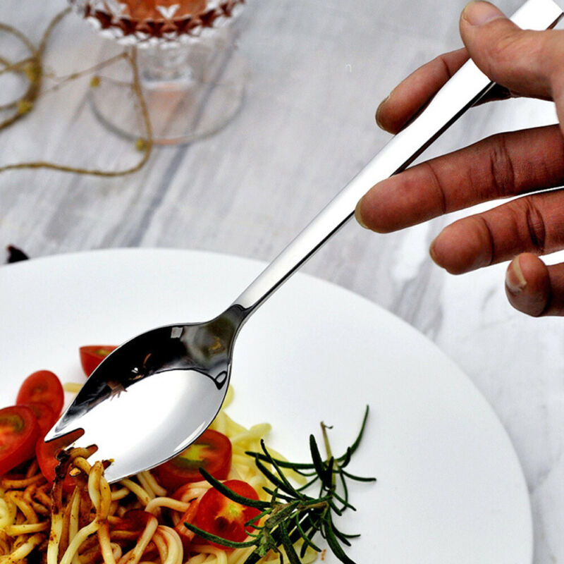 Tableware Travel Camping Salad Cutlery Spork Round Stainless Steel Spoon Outdoor