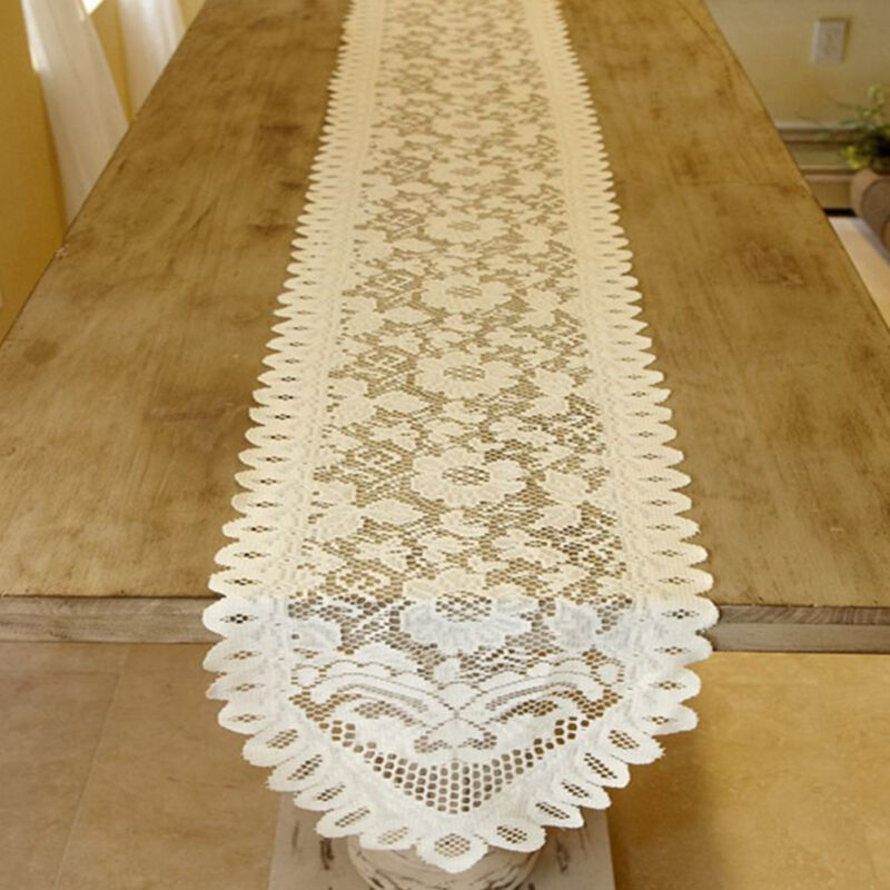White Vintage Lace Table Runner Dresser Scarf Doily Wedding 13x76inch Floral