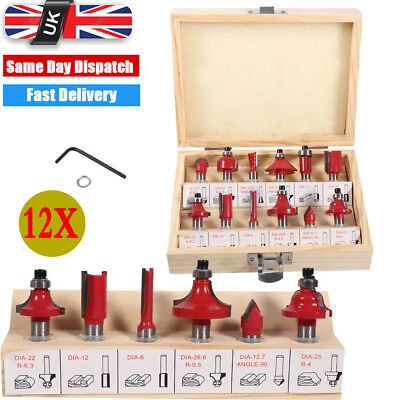 12PCS Milling Cutter Router Bit Set 8mm Shank Mill Woodworking Wood Cutters Box