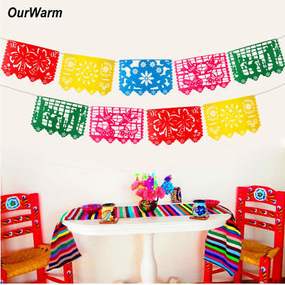 9pcs Mexican Flag Banner Papel Picado Mexican Fiesta Themed Party Wedding Decor](Fiesta Banner)