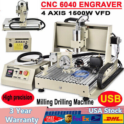 USB 4 Axis 6040Z CNC Router Engraving Machine Metal Mill Cut