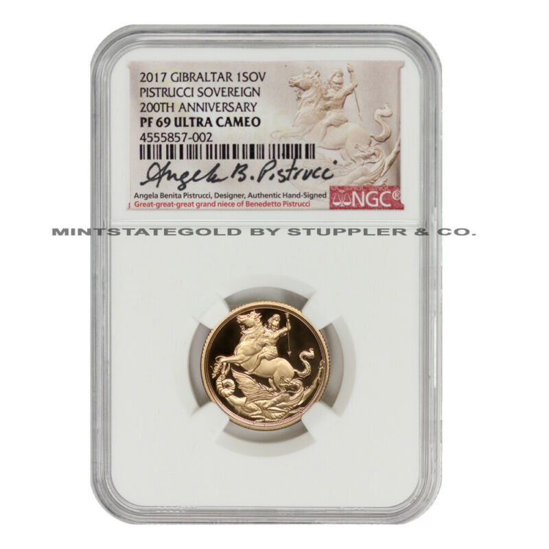 Gibraltar 2017 Gold 1 Sovereign NGC PF69UCAM Ultra Cameo Proof w/Pistrucci Label