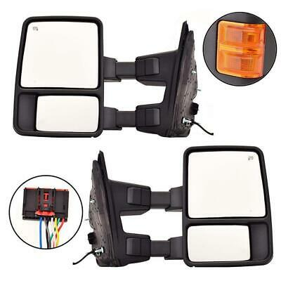 For 08-16 Ford F250 F350 Super Duty Tow Mirror Power+Heated+Amber Turn Signal