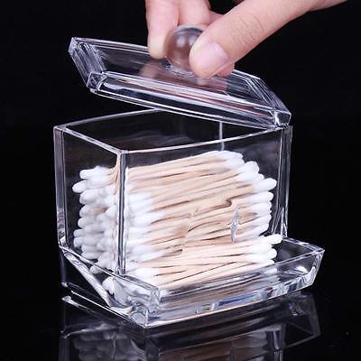 Clear Acrylic Cotton Swab Q-tip Storage Holder Box Cosmetic Make up Organizer GW