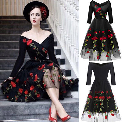 Retro Rose Embroidery Women Off Shoulder Mesh Swing Dress Rockabilly Ball Gown - Retro Rockabilly Clothes