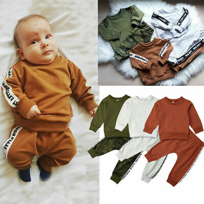 Newborn Baby Toddler Kids Boy 2pcs Romper Bodysuit Jumpsuit Clothes Outfits Sets