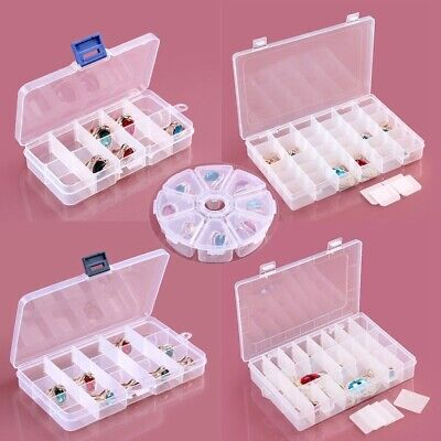 Jewelry Ring Organizer Box Tray Holder Earrings Storage Case Adjustable Clear ha