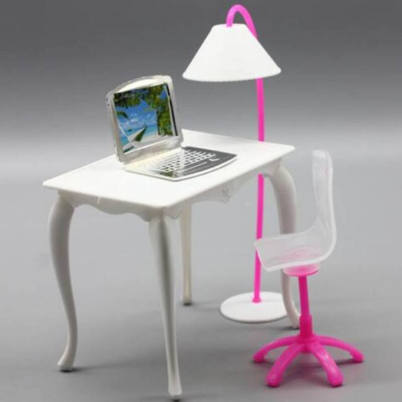 For Barbie Doll Play House Dolls Furniture Desk Lamp Laptop Chair Accessories MT