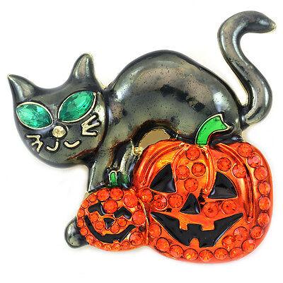 Happy Halloween Black Cat Jack-O-Lantern Pumpkin Brooch Pin Costume Jewelry - Happy Halloween Pumpkin Costume