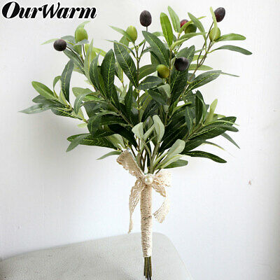 10x Artificial Olive Tree Leaf Branches Fruit Green Plant Greenery Wedding Decor Olive Tree Branch