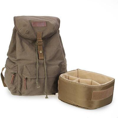 Koolertron Men's Canvas DSLR SLR Camera Bag Padding Insert Case Travel Backpack