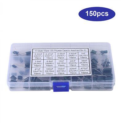 150pcs 100v 15 Value 0.33nf-470nf Polyester Film Capacitors Assortment Kit Box G