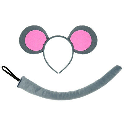 Mice Ears Costume (Pink Gray Mouse-A-Like Ears Headband & Tail Costume Set - 3 Blind Mice Party)