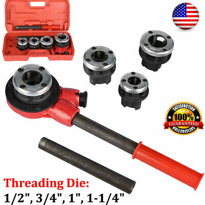 Manual Plumber Pipe Threading Kit 12 34 1 1-14 4 Dies Threader Tool Us