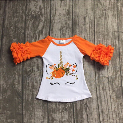 US Toddler Baby Kids Girl Unicorn Pumpkin Long Sleeve Cotton T-shirt Top Clothes - Baby Pumpkin