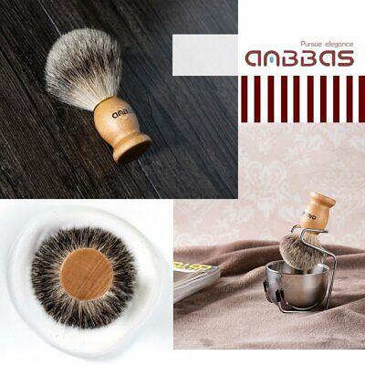 Anbbas Badger Hair Shaving Brush Stainless Steel Shave Brush Stand and Bowl Kit Badger Brush Stand