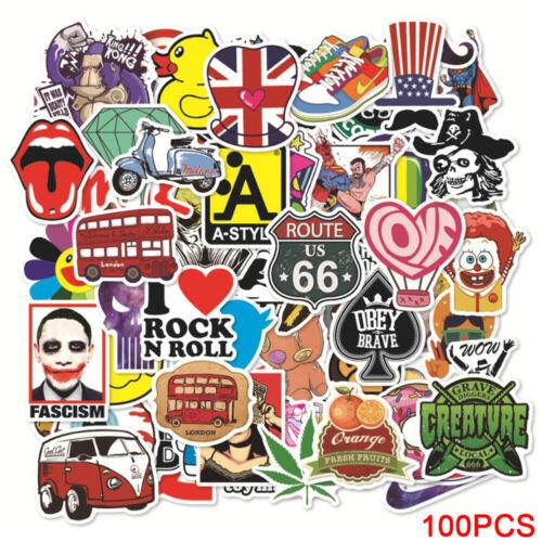 Cool PVC Stickers 100pcs Decal Graffiti DIY Sticker Funny Vinyl Skate Laptop