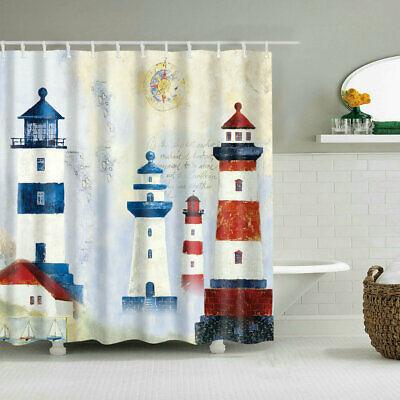 Bathroom Shower Curtain Decor Nautical Lighthouse Design  Bath Curtains 12 Hooks (Nautical Shower Decorations)