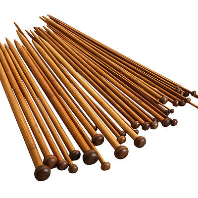 36Pcs/ lot 18Sizes 25cm Smooth Carbonized Bamboo Single Pointed Knitting Needles