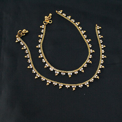 Ethnic Indian Pakistani Payal Anklet Pair Soft Bells Bollywood Bridal Jewelry