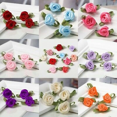 100pcs Small Mini Satin Ribbon Flowers Rose Wedding Decor Sewing Appliques DIY - Diy Ribbon Flowers