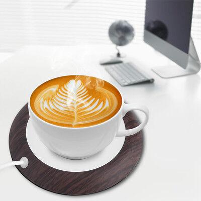 (New USB Wood Grain Cup Warmer Heat Beverage Mug Mat Office Tea Coffee Heater Pad)