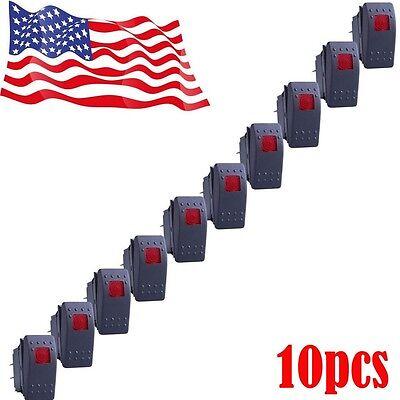 10x Red Waterproof Marine Boat Car Rocker Switch Onoff Illuminated 4pin Us Sale