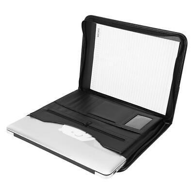 PU Leather A4 Zipped Conference Folder Business Document Organizer Portfolio Bag